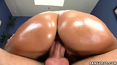 Horny young Latina sucks cock and the rides it like a cowgirl