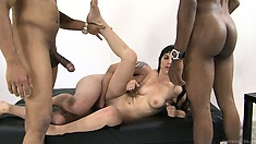 She's getting drilled up the ass and blows, then she gets a facial