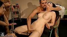 Awesome dames with classy tits takes part in anal experimentation