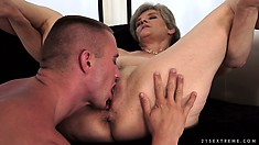 Naughty granny gets licked and fucked in her furry old muffin