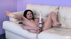 Annika has her vibrator out, licks her toy and keeps on vibrating