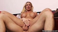 Evita's huge tits bounce and shake as she rides that big cock with excitement
