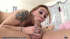 The sexy tattooed babe gives him a deep blowjob and finishes him off with her hands