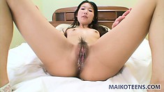 Megumi hairy pussy gets fucked hard until he cums deep in her pussy