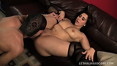 Valerie wildly rides his stiff dick before lying on her back to get pounded deep