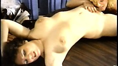 Vintage video of a sexy blonde shemale eating out a hairy pussy