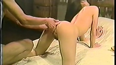 She gets on hands and knees while getting fingered, then fucked on her back