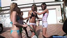 Amateur chick Brooke Skye attends the car wash and gets her t-shirt wet