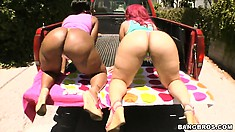 Big ass Cherokee and Pinky show them off in the back of a truck