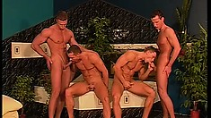 Hunky Karate boys practice their gay moves using their swanky swords in an orgy