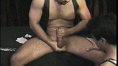 Kinky bear binds his cock while playing with a horny twink slut