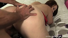 Big breasted brunette with a massive booty takes a hard cock deep in her needy cunt