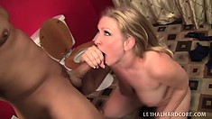Curvy blonde cougar sends her lips and hands working their magic on a big shaft
