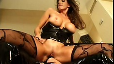Splendid floosie in outraging sexy outfit gets thanked by strap-on fuck