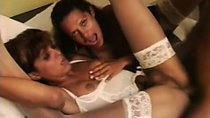 Kinky MILF gets freaky with her husband and a hung shemale hooker