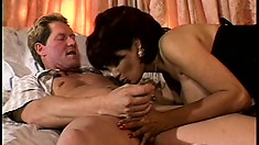 Old cuckold gives his wifey away to a couple of horny hung men