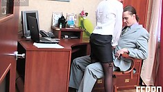 Alice gives her boss Mike some head and spreads wide to fuck him