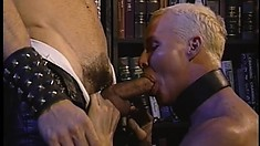 Naughty gay slave gets pounded in the ass by his leather master