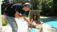 Cute little Asian babe sunbathes, then goes inside to get hammered hard