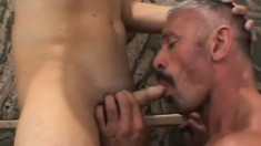 Horny Spike Morrison gets a young lover in the shower to open his ass