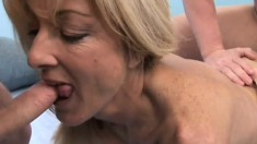 Busty blonde Milf gets two cocks working her over and gets tapped hard