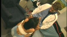 Busty brunette nurse Belladonna has a horny doctor pounding her snatch