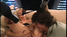 British blonde with awesome tits Hannah getting pounded in both holes