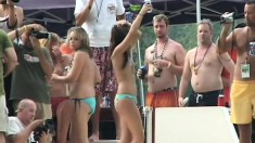 Crazy young girls adore teasing guys with their titties in public