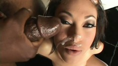 Sexy slim babe Angel Marie welcomes a big black rod in her tight peach