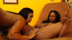 Wild ebony lesbians using their favorite sex toys to please each other