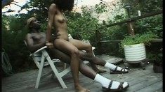 Hairy black chick gets that snatch stuffed with some huge wang