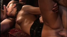 Nasty cheating housewife gets speared from both ends in a threesome