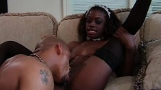 Horny ebony maid has her black boss fucking her wet pussy on the couch
