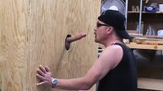 Butch looking biker dudes enjoy some hot glory hole cocksucking