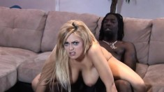 Chubby blonde babe gets a big black dick to pleasure her cunt