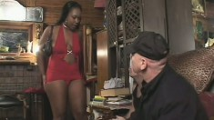 Phat ass ebony slut gets pumped by two white bones and gets a DP