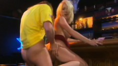 A sexy blonde newsreader gets her slit stuffed behind the scenes