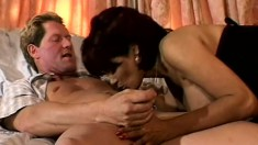 Toothsome bitch is taking on two passionate gentlemen with huge wangs