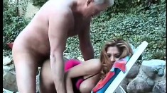 Lusty latina lady Alexis takes her man outside for some screwing