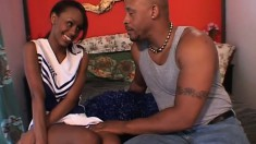 Cute little cheerleader from the hood gets fucked by an older man