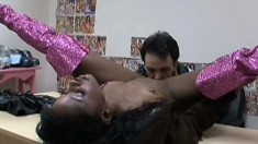 Dark black babe gets her coochie pounded by a white guy's cock