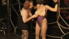 Huge tit ladies play mistress and slave in two scenes of playful torture