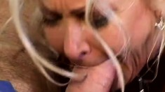 Busty blonde milf gets fucked by a black stud and her husband watches