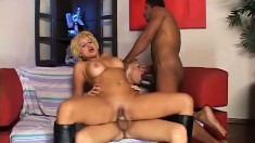 Sex crazed shemale/female/male threesome action with Shakira Voguel