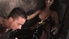 Jill Jordan and Julia make their slave Daniel G work on them both