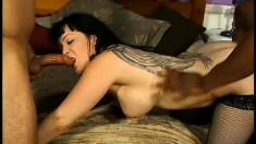 Nasty brunette in black stockings CJ Bennet has three studs sharing her juicy holes
