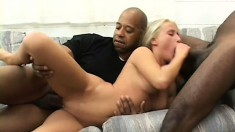 Beautiful young blonde Alexia shows off her body and has fun with two black cocks