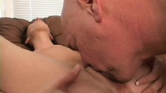 Skinny brunette MILF is on the casting couch and runs through her tricks