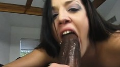 Sexy college babe can't get enough of a huge black rod banging her ass