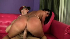 Sexy brunette with a massive booty Valerie is in need of a long shaft in her pussy
